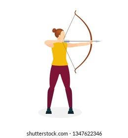 Young girl with bow and arrow. Female holding bow and arrow aiming to shoot. Archer with bow and arrow vector illustration. Part of set.