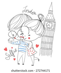 Young girl and boy making self portrait. London. Love card.