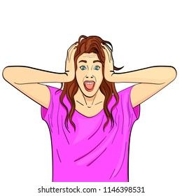 Young girl, brunette screams, holds herself by the head. Psychological disease, hysterics. Comic style, vector illustration