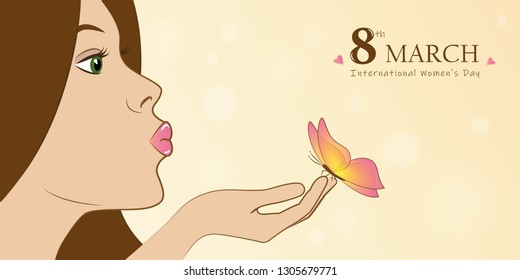 young girl with butterfly womans day 8th march greeting card vector illustration EPS10