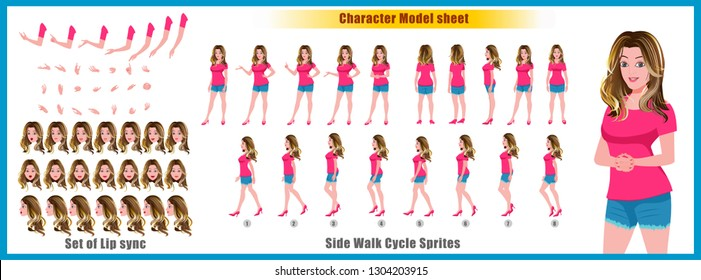 Young girl Character Model sheet with walk cycle animation. Girl character design. Front, side, back view animated character. character creation set with various views, face emotions,poses and gesture