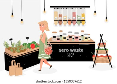 A young girl chooses and buys products in the store zero waste. Store products without packaging. The buyer in a retail store. Dispenser for bulk products. Vector illustration in cartoon style.