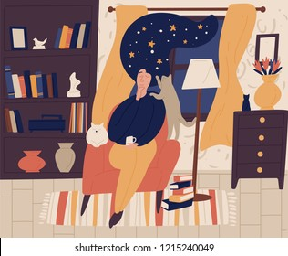 Young girl with closed eyes and night starry sky or space instead of hair sitting in chair and dreaming or daydreaming. Fantasy and imagination. Colorful vector illustration in flat cartoon style.