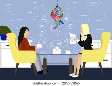 Young girl in consultation with an astrologer. Two girls talk in the astrologer office. Astrology style designed room with astrolog and patient. Illustration of young girl with Astrolog flat style