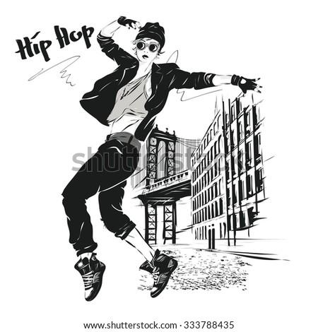 Young Girl Dances Hiphop Vector Illustration Vector de stock (libre ...