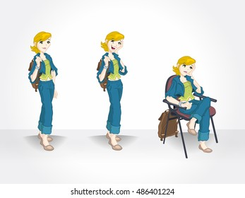 Young girl in different poses. Blond teenager character.