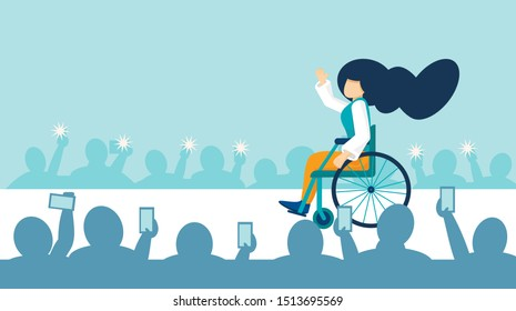 A young girl with disabilities in a wheelchair rides on the catwalk at a fashion show.The concept of equal opportunity. A disabled person is a top model in a fashion house. Vector banner, copy space.