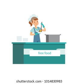 Young girl distributing free food for homeless people. Volunteering concept. Social support activities. Cartoon female character pouring soup into plate. Flat vector design