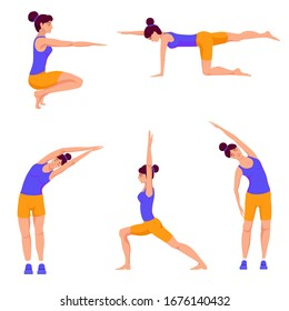 young girl doing fitness exercises, set, cartoon illustration isolated on white background, vector