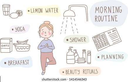 A young girl doing her morning routine including yoga practice, drinking lemon water, shower, breakfast, beauty rituals and planning. Woman self care concept. Vector illustration in a hand drawn style