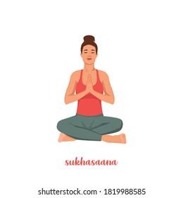Young girl doing sukhasana yoga. Beautiful girl meditating in lotus pose, relaxation exercise, Easy Seat pose. girl doing asana for International Yoga Day on 21st June. Vector illustration.