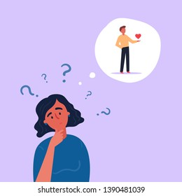 Young girl in doubt thinks of boy in love. Man inside the thought bubble with heart in his hand and female with question marks. Idea about relationships and romance. Vector flat illustration