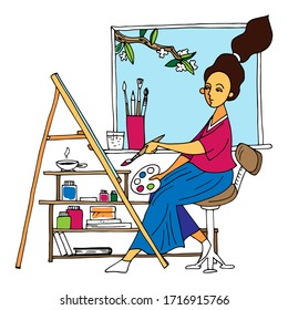 young girl draws with a brush on an easel, artists, vector illustration