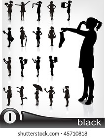 Young girl in dress- high quality silhouette collection.