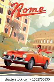 A young girl driving a retro car on the background of Roman houses and the Coliseum. Handmade drawing vector illustration. Retro style poster.