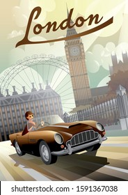A young girl driving a retro car on the background of nglish houses and the Big Ben in London. Handmade drawing vector illustration. Retro style poster.