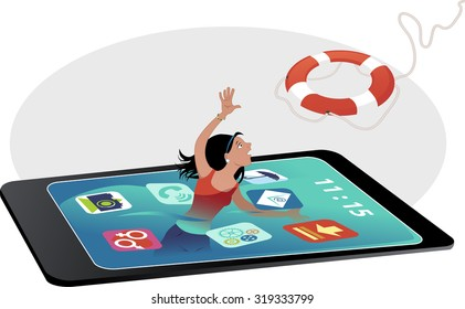 Young girl drowning in a smartphone screen, reaching for a lifebuoy, EPS 8 vector illustration, no transparencies, no mesh
