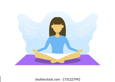 Young girl is engaged in meditation. Vector illustration, yoga sport, free your mind concept. Woman in lotus pose with angel wings behind.