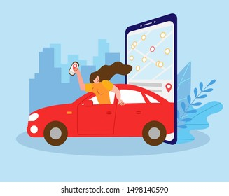 Young girl enjoys car sharing service.  Mobile city transportation vector illustration concept. Can use for, landing page, template, ui, web, mobile app, poster, banner, flyer