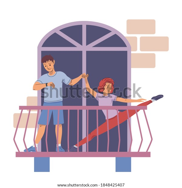 Young girl exercising at home on balcony. Happy woman stretching in house, man holding hand and coaching. Relaxing sport activity outdoor vector illustration. City modern apartment view from street.