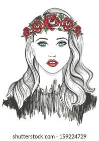 Young girl fashion illustration.
