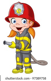 Young girl in a fireman costume