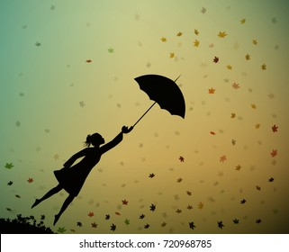 young girl flying away with an umbrella, autumn wind, vector.