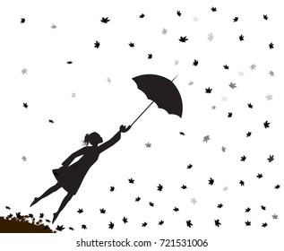 young girl flying away with an umbrella, autumn wind, shadow vector.