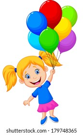 Young girl flying with balloon