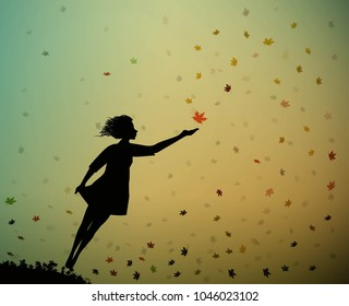 young girl is flying and touching the autumn leaves, autumn feelings, autumn memories, vector