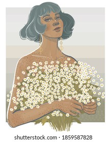 young girl with freckles and a bob hairstyle holds a huge bouquet of daisies in her  hands