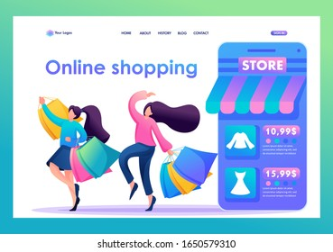 Young girl girlfriends buy clothes online and have fun, friendship. Flat 2D character. Landing page concepts and web design