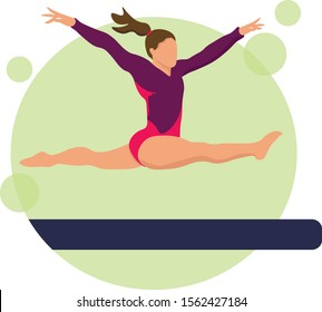 Young girl gymnast exercise sport athlete vector illustration. Training performance strength gymnastics. Championship workout acrobat beautiful character.Women Acrobatic Gymnastics, flat vector