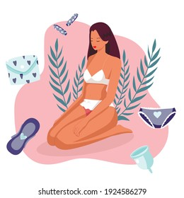 A young girl is happy to have a menstrual period. Various feminine hygiene products: panties, sanitary napkins, tampon. Protection of menstruation, feminine hygiene. Vector illustration.
