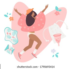 A young girl is happy to have a zero waste period. Various feminine hygiene products: panties, sanitary napkins, cups. Protection of menstruation, feminine hygiene. Vector illustration.