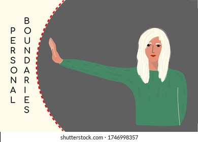 the young girl held out her hand against the line that indicates the area of the personal border.concept of social distance,personal space.vector illustration in flat style.for socialmedia banners.
