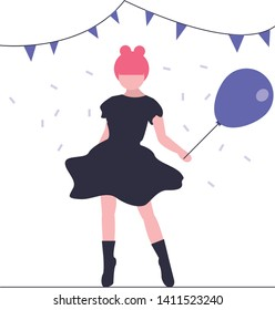 Young girl holding balloon,  birthday illustration, Vector fashion print woman and air balons, girl in party, balloon