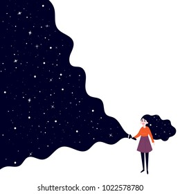 A young girl holding a flashlight shines in the dark and open deep space, stars and sky. Concept of searching, adventure, secrecy and nightdreams. Background is white. Vector flat illustration