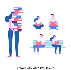 Young girl holding a pile of educational books in hands. Love reading.  Cartoon flat vector illustration isolated on white background.
