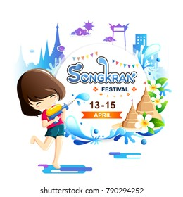 Young girl holding water gun enjoy splashing water in Songkran festival, Thailand-Vector Illustration