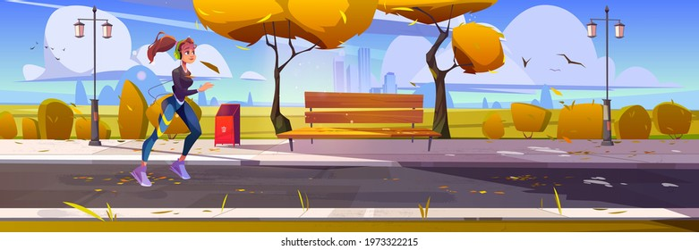 Young girl jogging in city park, sportswoman run at morning, outdoor sports activity. Fit female character in headset exercising in autumn urban garden, healthy lifestyle, Vector cartoon illustration