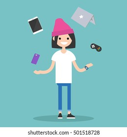 Young girl juggling electronic devices / editable flat vector illustration
