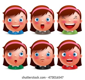 Young girl kid avatar facial expressions set. Cute emoticon heads vector characters isolated in white background. Vector illustration.