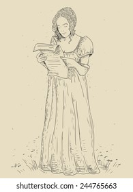 A young girl with a letter in Empire style dress