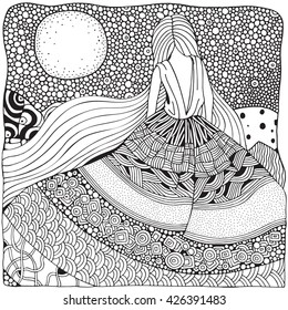 Young girl with long hair. Beautiful, long dress in zentangle style. Skirt fluttering in the wind. Adult coloring book. Doodle, boho, zen art style. Black and white.