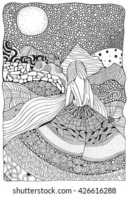 Young girl with long hair. Beautiful, long dress in zentangle style. Adult coloring book page in A4 size. Moonlight, mountains. Doodle, boho, zen art style. Black and white.