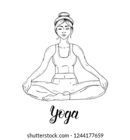 Fitness Girl Sketch Images Stock Photos Vectors Shutterstock Who blames a passionate newbie for not being able to draw just a perfect human body. https www shutterstock com image vector young girl lotus position padmasana women 1244177659