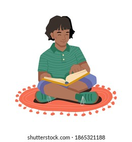 Young girl in lotus position sitting on carpet at floor and reading book. Vector afro american girl reads novel, hobby and leisure pastime. Elementary school pupil with textbook, clever schoolgirl