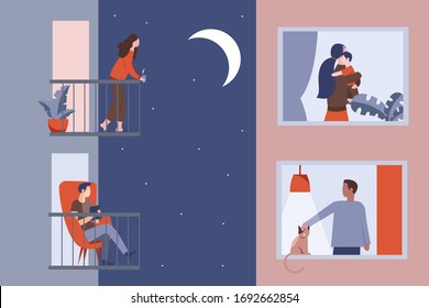 Young girl and man stand on their balconies and look at the moon and stars. The neighbors look out the windows at night. Quarantine concept during the coronovirus pandemic.