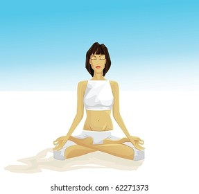 young girl meditating outdoor